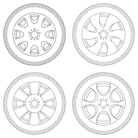 Wheel with tyre. Set of outline icons. Vector illustration isolated on white background Illustration