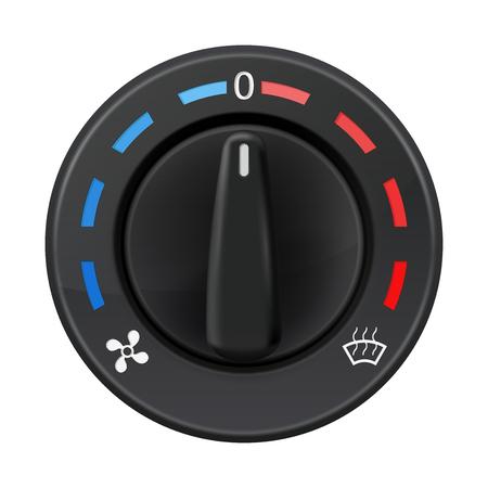 Interruttore della manopola del cruscotto dell'auto. Condizionatore automatico. Selettore di temperatura. Illustrazione vettoriale 3d isolato su sfondo bianco Vettoriali