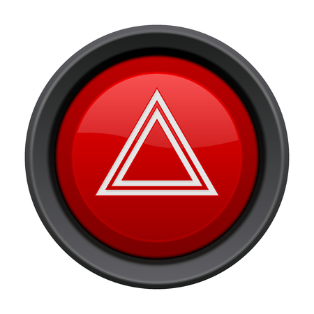 Warning light red button. Car dashboard element isolated on white background Vetores