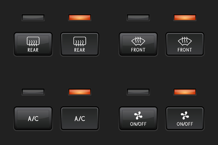 Car interior buttons. Dashboard black square elements. Vector 3d illustration