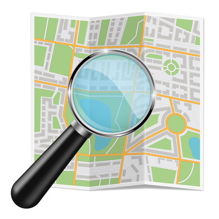 Folded city map. Abstract cartography with zooming glass. Vector 3d illustration isolated on white background