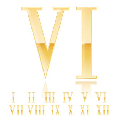 Roman numeral Six. Golden 3d sign. Vector 3d illustration Ilustrace