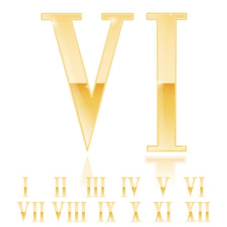 Roman numeral Six. Golden 3d sign. Vector 3d illustration Illustration