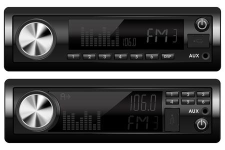 Car audio equipment. Radio and music players. Vector 3d illustration