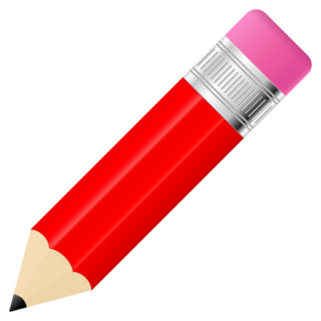 Red pencil with eraser Иллюстрация
