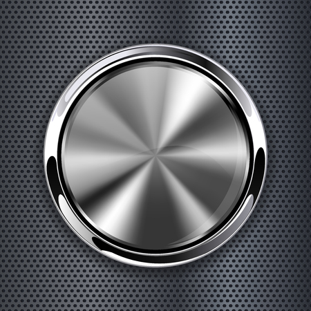 Brushed metal 3d button on perforated background. Vector illustration