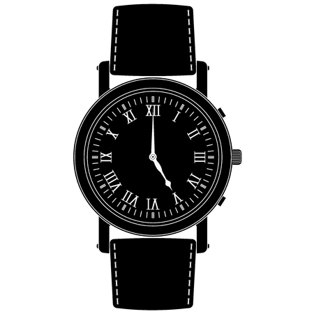 Wrist watch. Black icon. Vector illustration isolated on white background