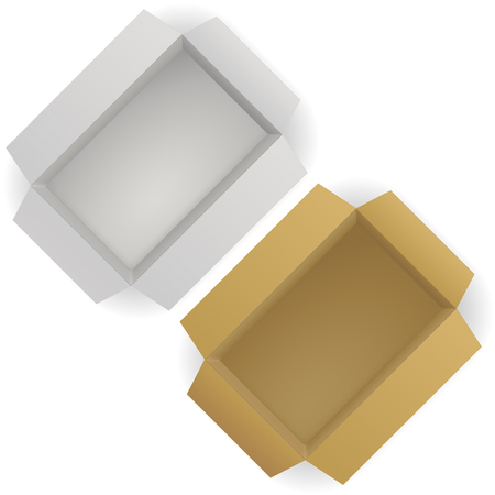 Open paper boxes. Cardboard containers. Vector 3d illustration Imagens - 127730721