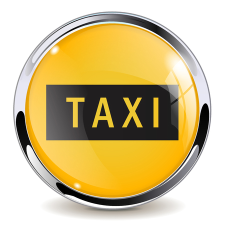 Taxi button. Yellow glass 3d icon with metal frame. Vector illustration isolated on white background