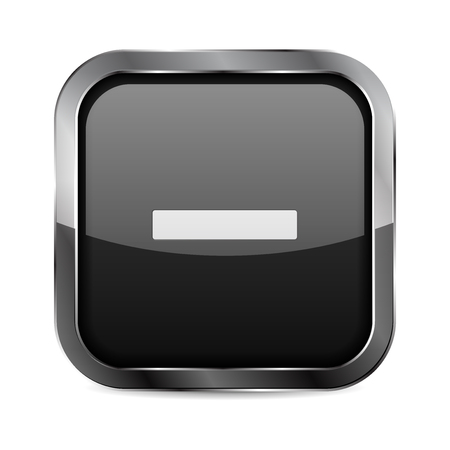 Minus button. Black glass 3d icon with metal frame. Vector illustration isolated on white background Imagens - 127730724