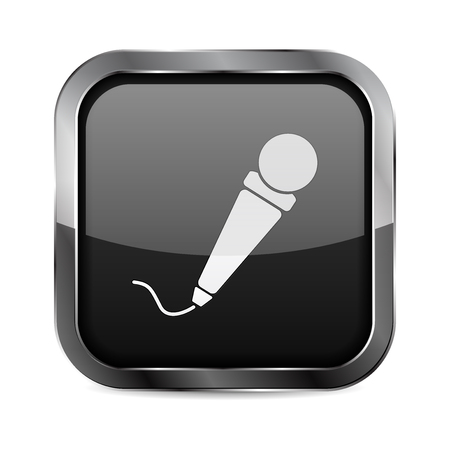 Mic button. Black glass 3d icon with metal frame. Vector illustration isolated on white background