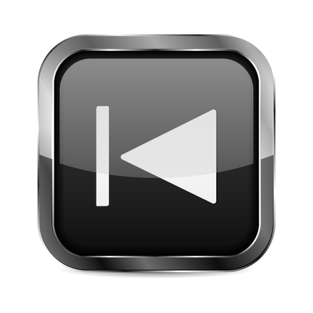 Rewind button. Black glass 3d icon with metal frame. Vector illustration isolated on white background