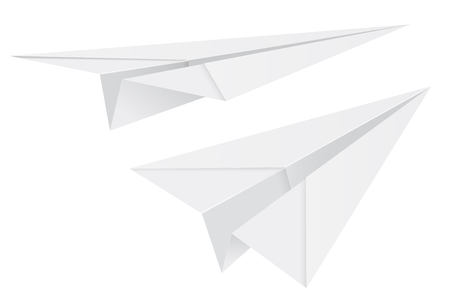 White paper airplanes. 3d vector illustration isolated on white background Banque d'images - 127713151