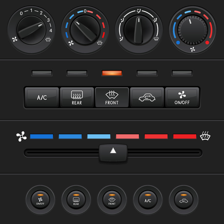 Car dashboard elements with black push buttons and level slider. Vector 3d illustration
