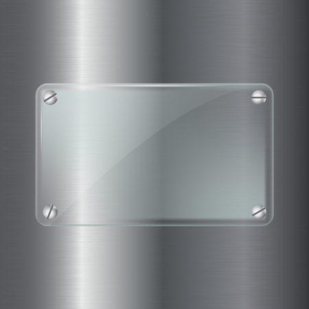 Metal background with glass plate. Vector 3d illustration