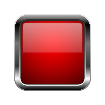 Red glass button. Square 3d shiny icon with metal frame. Vector illustration isolated on white background Illustration