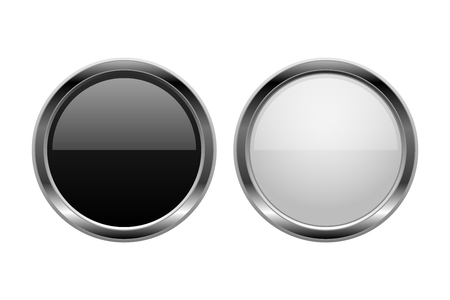 Buttons. Black and white glass round 3d icons. Vector illustration isolated on white background