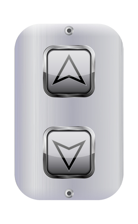 Elevator buttons. Lift panel. Vector 3d illustration isolated on white background