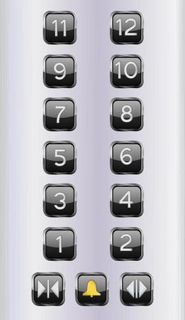 Botones de piso de ascensor. Panel de control