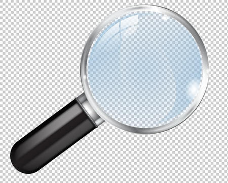 Transparent magnifying glass. Vector 3d illustration isolated