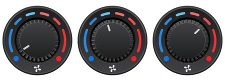 Car dashboard knob switch set. Auto air conditioner. Temperature selectors Vector Illustratie