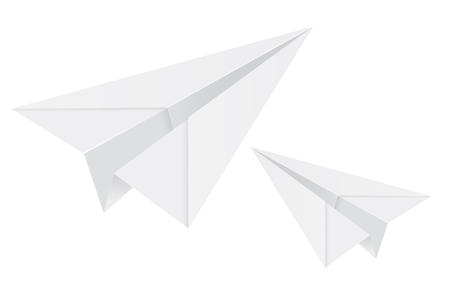 White paper airplanes. 3d vector illustration isolated on white background Banque d'images - 127713175
