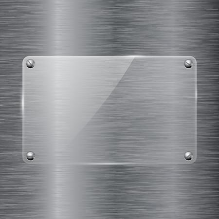 Brushed metal background with transparent glass plate. Vector 3d illustration Çizim