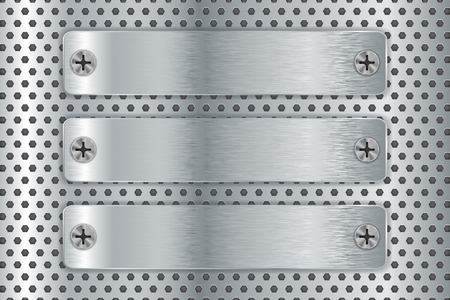 Metal perforated background with steel plates. Vector 3d illustration