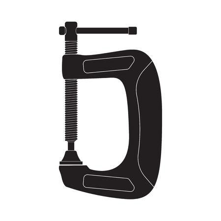 Clamp. Black outline icon. Vector illustration isolated on white background Ilustração