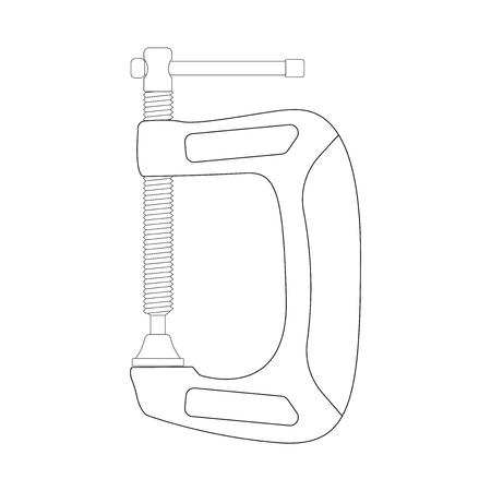 Clamp. Outline icon. Vector illustration isolated on white background