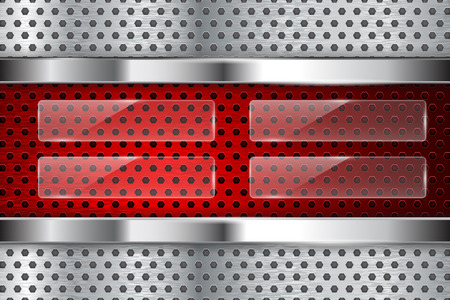 Metal perforated background with glass elements