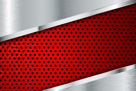 Metal texture with red perforation Reklamní fotografie
