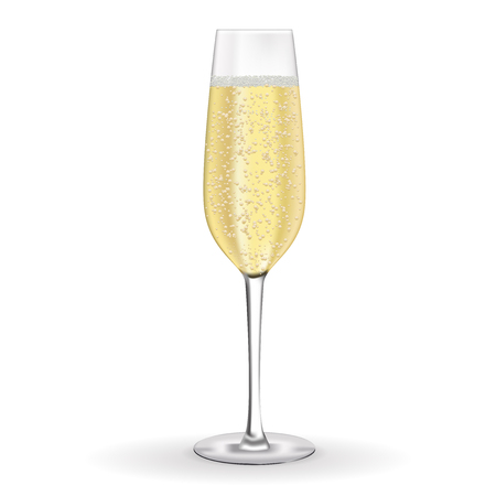 Glass of champagne. Vector 3d illustration isolated on white background