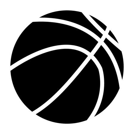 Basketball ball. Black icon. Vector illustration isolated on white background