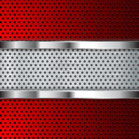 Red metal perforated background. Vector 3d illustration Ilustração