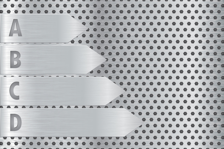 Metal perforated background with steel plates with letters. Vector 3d illustration Çizim