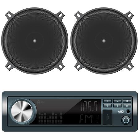 Auto-Audio und Lautsprecher. Vektor-Illustration isoliert auf weißem Hintergrund