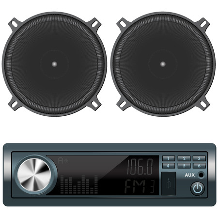 Car audio and speakers. Vector illustration isolated on white background
