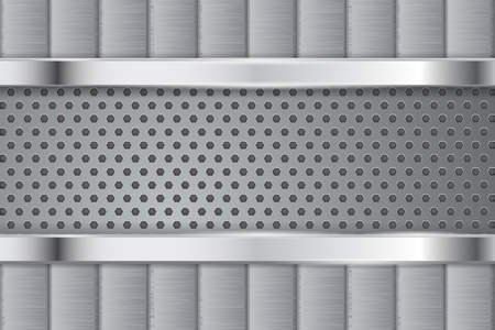 Metal background. With perforation. Vector 3d illustration