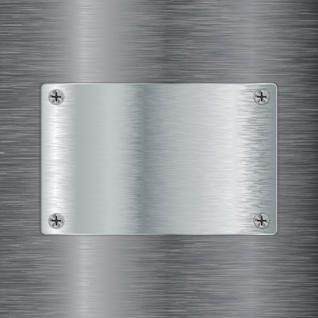 Brushed metal background with steel plate. Vector 3d illustration