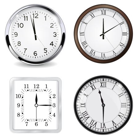 Clocks. Vector 3d illustration isolated on white background