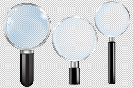 Transparent magnifying glass. Set. Vector 3d illustration isolated