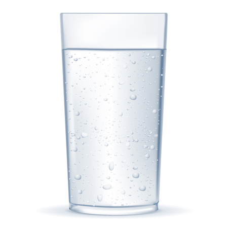 Glass of water with bubbles. Vector 3d illustration isolated on white background Illustration
