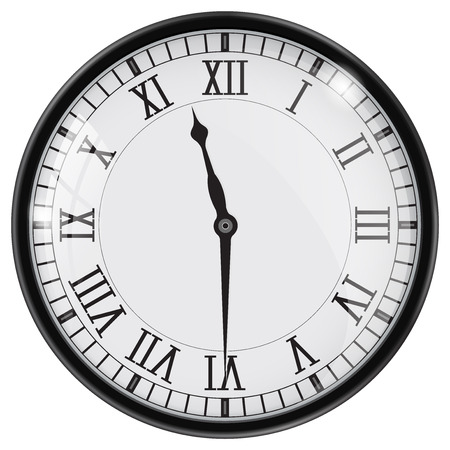 Clock with roman numerals. Half past eleven. Vector illustration 向量圖像