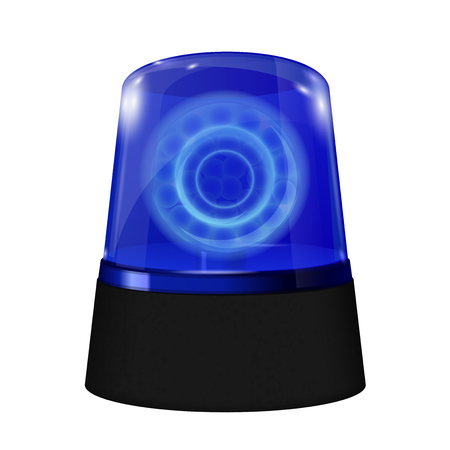 Police alarm lights. Blue lamp. Vector 3d illustration isolated on white background