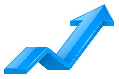 Blue arrow. 3d UP icon. Vector illustration isolated on white background Illusztráció