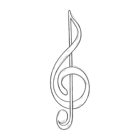 Treble clef or G Clef. Hand drawn sketch. Vector illustration isolated on white background