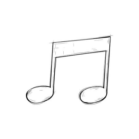 Quarter notes. Musical symbol. Outline sketch. Vector illustration isolated on white background