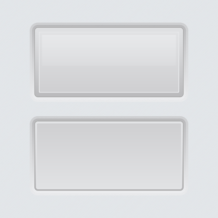 White web interface buttons. Square 3d icons. Vector illustration
