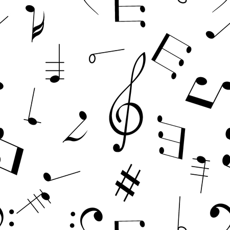 Music signs. Seamless pattern. Black notes and symbols on white background. Vector illustration Reklamní fotografie